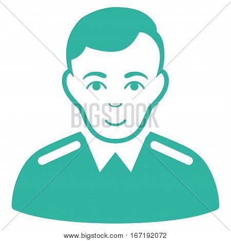 Officer vector icon. Flat cyan symbol. Pictogram is isolated on a white background. Designed for web and software interfaces.