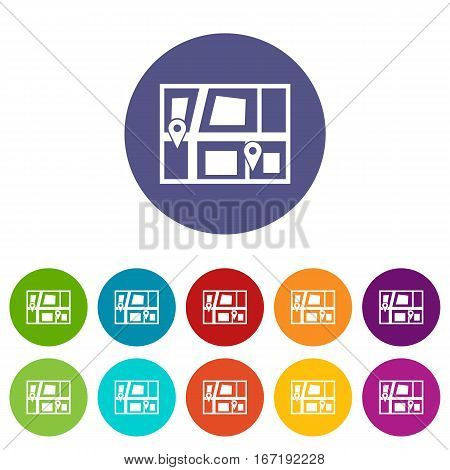 Geo location of taxi set icons in different colors isolated on white background