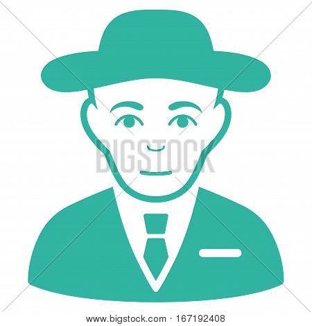 Secret Service Agent vector icon. Flat cyan symbol. Pictogram is isolated on a white background. Designed for web and software interfaces.