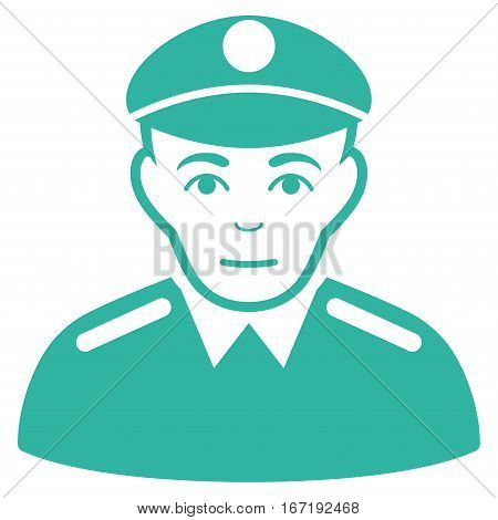 Soldier vector icon. Flat cyan symbol. Pictogram is isolated on a white background. Designed for web and software interfaces.
