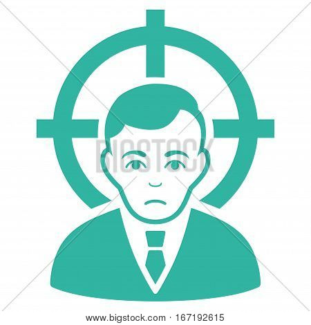 Victim Businessman vector icon. Flat cyan symbol. Pictogram is isolated on a white background. Designed for web and software interfaces.