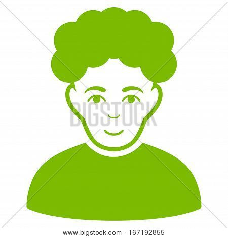 Brunet Man vector icon. Flat eco green symbol. Pictogram is isolated on a white background. Designed for web and software interfaces.