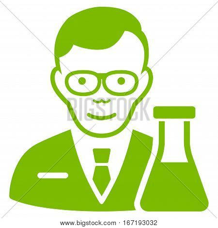 Chemist vector icon. Flat eco green symbol. Pictogram is isolated on a white background. Designed for web and software interfaces.