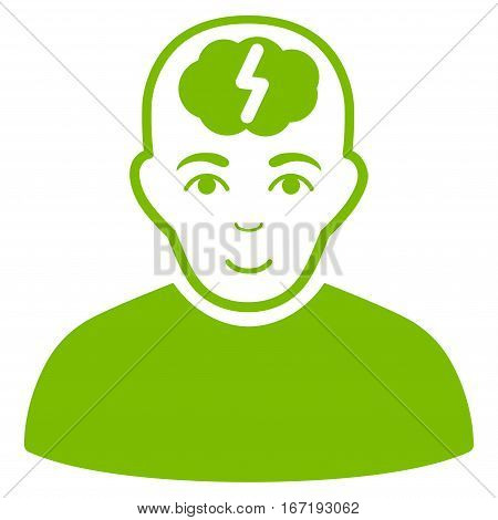 Clever Boy vector icon. Flat eco green symbol. Pictogram is isolated on a white background. Designed for web and software interfaces.