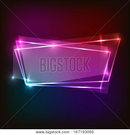 Abstract neon background with colorful banner, stock vector