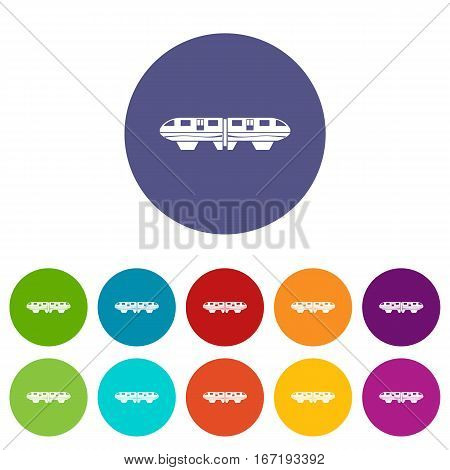 Monorail train set icons in different colors isolated on white background