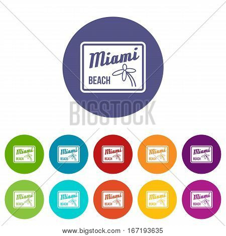 Miami beach set icons in different colors isolated on white background