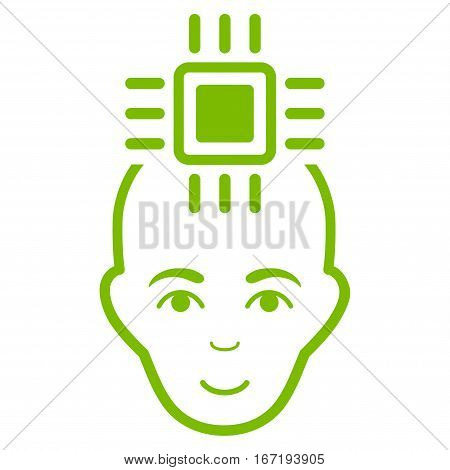 Neural Computer Interface vector icon. Flat eco green symbol. Pictogram is isolated on a white background. Designed for web and software interfaces.