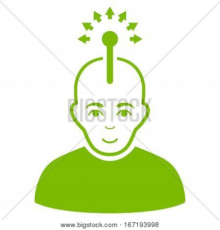 Optical Neural Interface vector icon. Flat eco green symbol. Pictogram is isolated on a white background. Designed for web and software interfaces.