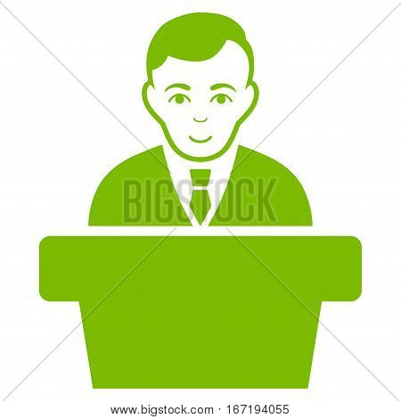 Politician vector icon. Flat eco green symbol. Pictogram is isolated on a white background. Designed for web and software interfaces.