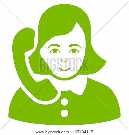 Receptionist vector icon. Flat eco green symbol. Pictogram is isolated on a white background. Designed for web and software interfaces.