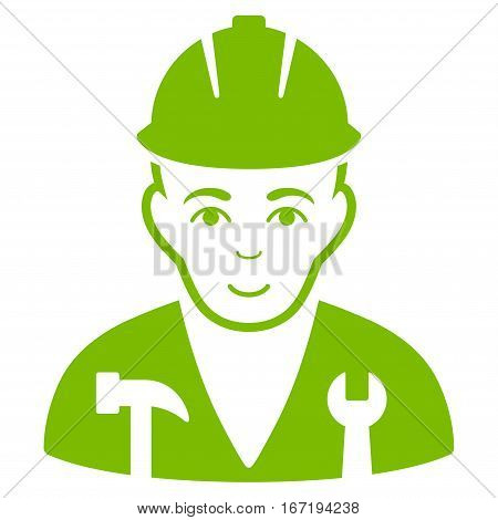 Serviceman vector icon. Flat eco green symbol. Pictogram is isolated on a white background. Designed for web and software interfaces.