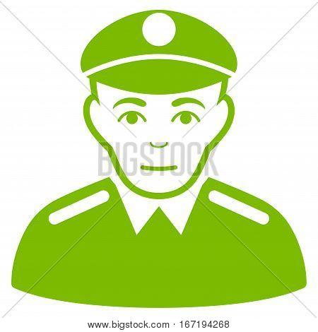 Soldier vector icon. Flat eco green symbol. Pictogram is isolated on a white background. Designed for web and software interfaces.