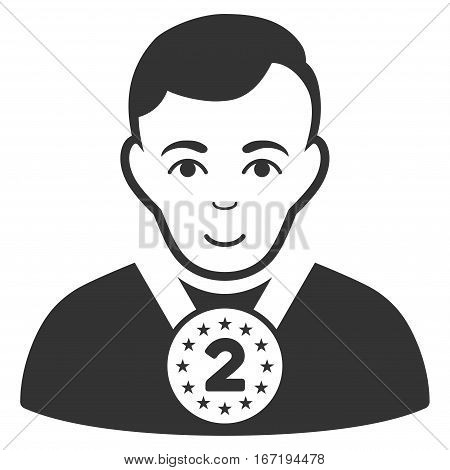 2nd Prizer Sportsman vector icon. Flat gray symbol. Pictogram is isolated on a white background. Designed for web and software interfaces.
