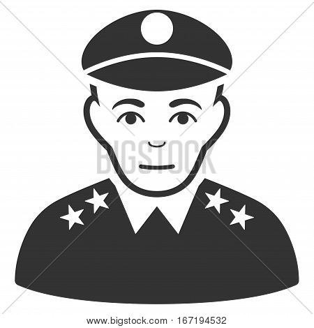 Army General vector icon. Flat gray symbol. Pictogram is isolated on a white background. Designed for web and software interfaces.