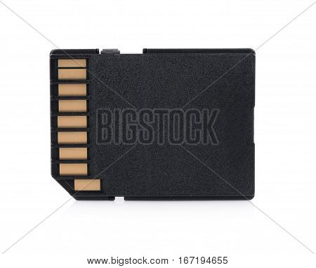 Closeup memory card isolated on white background