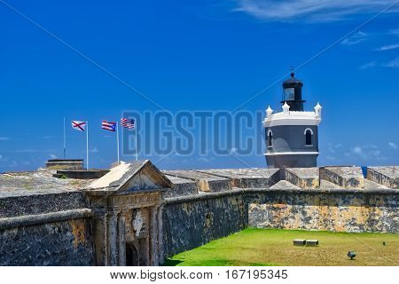Lighthouse at El Morro in San Juan Puerto Rico
