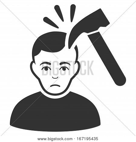 Murder With Hammer vector icon. Flat gray symbol. Pictogram is isolated on a white background. Designed for web and software interfaces.