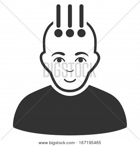 Neural Interface vector icon. Flat gray symbol. Pictogram is isolated on a white background. Designed for web and software interfaces.