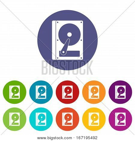 HDD set icons in different colors isolated on white background
