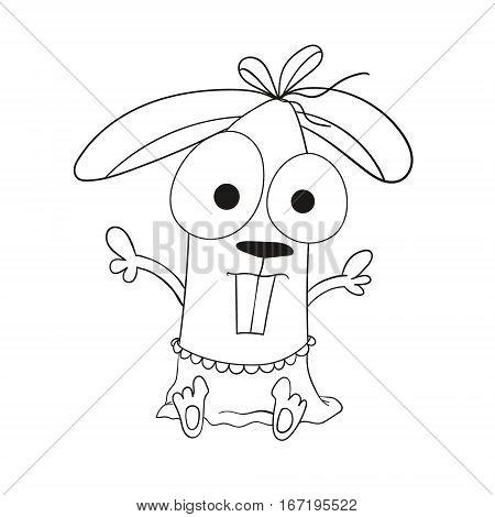 rabbit doodle doll vector illustration baby rabbit