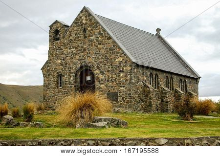 The small stone Church of the Good Shepherd at Lake Tekapo on the south Island of New Zealand