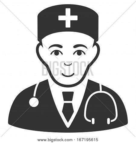 Physician vector icon. Flat gray symbol. Pictogram is isolated on a white background. Designed for web and software interfaces.