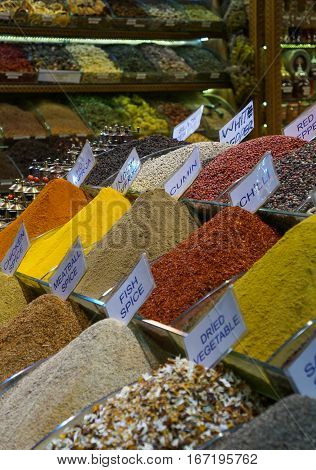 Mounds of Various Spices on Display at a Shop