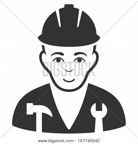 Serviceman vector icon. Flat gray symbol. Pictogram is isolated on a white background. Designed for web and software interfaces.