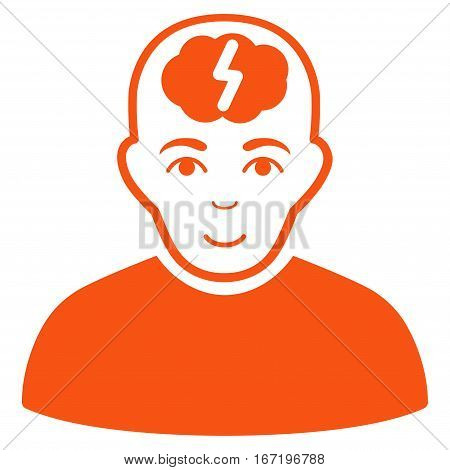 Clever Boy vector icon. Flat orange symbol. Pictogram is isolated on a white background. Designed for web and software interfaces.