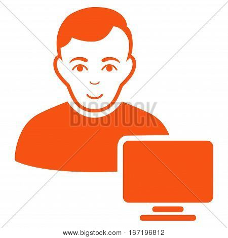 Computer Administrator vector icon. Flat orange symbol. Pictogram is isolated on a white background. Designed for web and software interfaces.