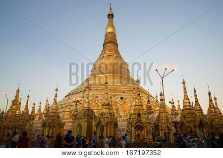 YANGON, MYANMAR - DECEMBER 17, 2016: A Shwedagon Pagoda mortar in evening twilight