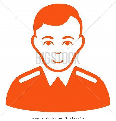 Officer vector icon. Flat orange symbol. Pictogram is isolated on a white background. Designed for web and software interfaces.