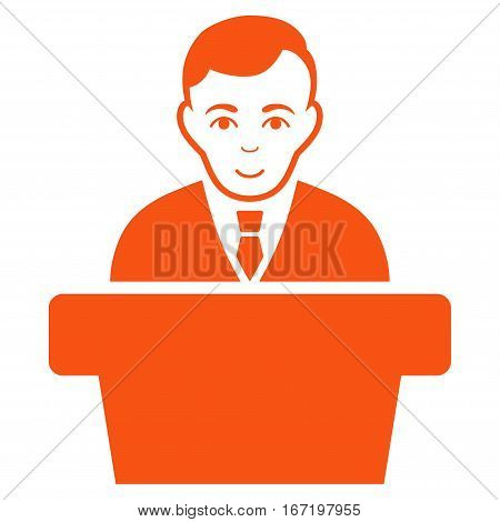 Politician vector icon. Flat orange symbol. Pictogram is isolated on a white background. Designed for web and software interfaces.