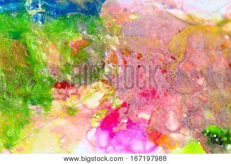 Close up of multicolour paint, selective focus