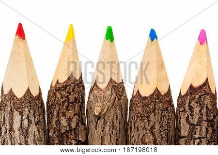 Four unprocessed raw wood pencils isolated on white background top view