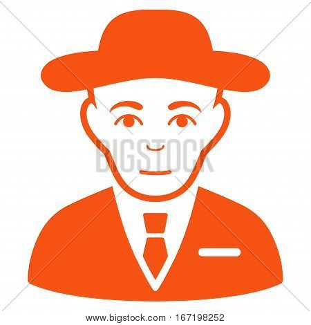 Secret Service Agent vector icon. Flat orange symbol. Pictogram is isolated on a white background. Designed for web and software interfaces.