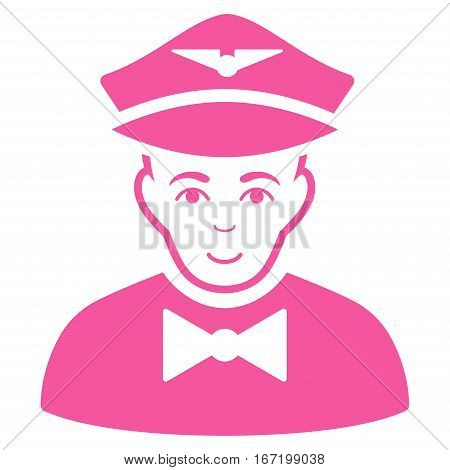 Airline Steward vector icon. Flat pink symbol. Pictogram is isolated on a white background. Designed for web and software interfaces.