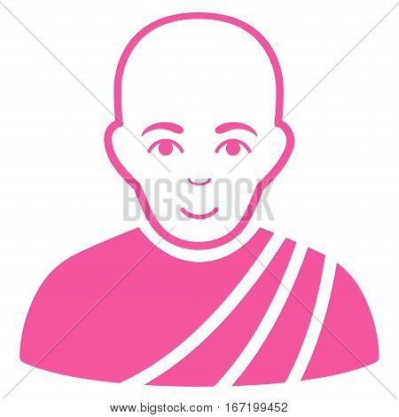 Buddhist Monk vector icon. Flat pink symbol. Pictogram is isolated on a white background. Designed for web and software interfaces.
