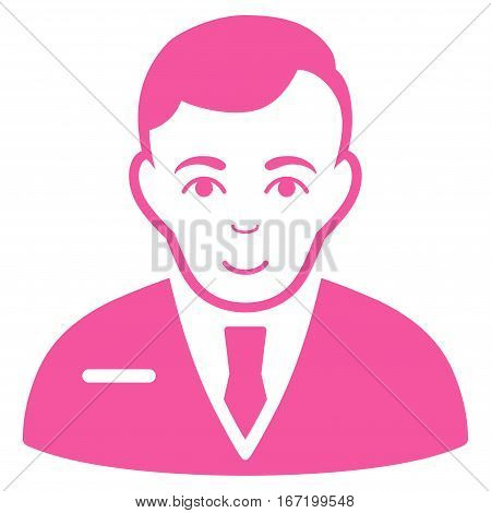 Businessman vector icon. Flat pink symbol. Pictogram is isolated on a white background. Designed for web and software interfaces.