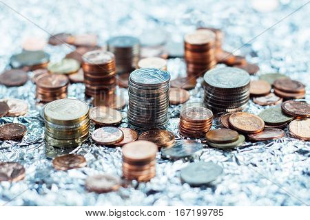Thai Baht Coins And Money Background