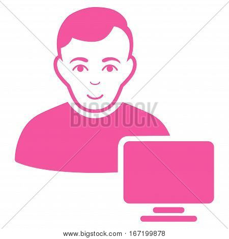 Computer Administrator vector icon. Flat pink symbol. Pictogram is isolated on a white background. Designed for web and software interfaces.