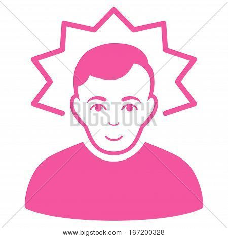 Inventor vector icon. Flat pink symbol. Pictogram is isolated on a white background. Designed for web and software interfaces.