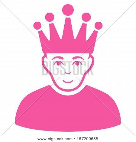 Moderator vector icon. Flat pink symbol. Pictogram is isolated on a white background. Designed for web and software interfaces.