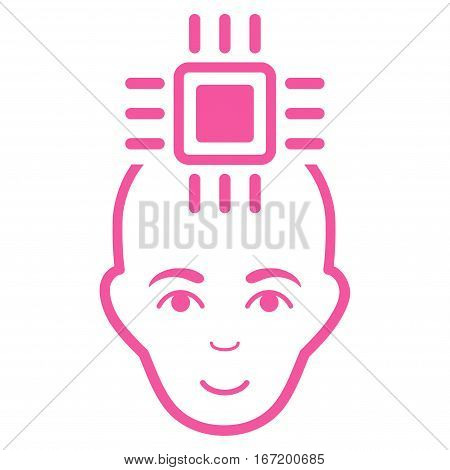 Neural Computer Interface vector icon. Flat pink symbol. Pictogram is isolated on a white background. Designed for web and software interfaces.