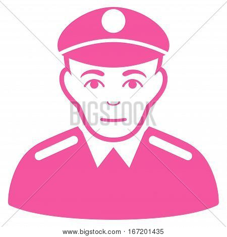 Soldier vector icon. Flat pink symbol. Pictogram is isolated on a white background. Designed for web and software interfaces.