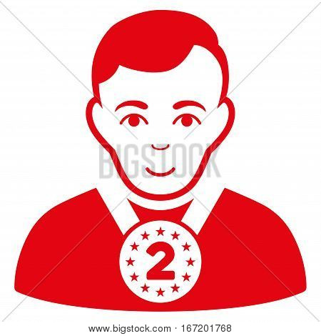 2nd Prizer Sportsman vector icon. Flat red symbol. Pictogram is isolated on a white background. Designed for web and software interfaces.