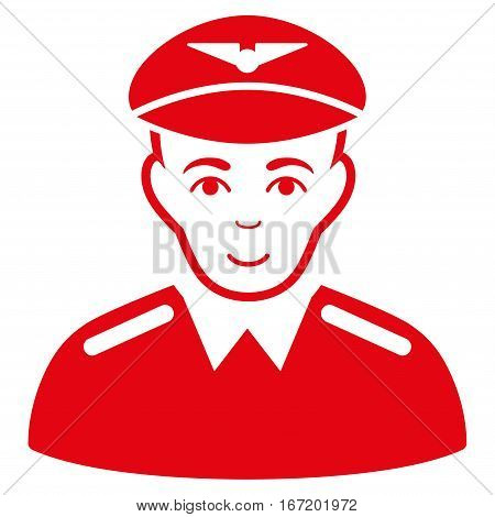 Aviator vector icon. Flat red symbol. Pictogram is isolated on a white background. Designed for web and software interfaces.
