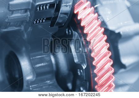 The abstract scene of the automatic transmission gearbox concept with glowing edge lighting effect