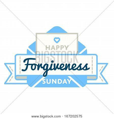 Happy Forgiveness Sunday emblem isolated raster illustration on white background. 26 february world orthodox holiday event label, greeting card decoration graphic element